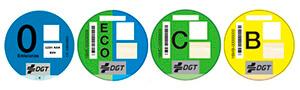 Etiquetas medioambientales DGT. Categorias